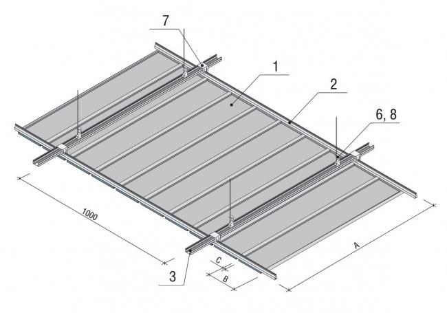 Схема монтажа кассетного потолка Albes AP 210