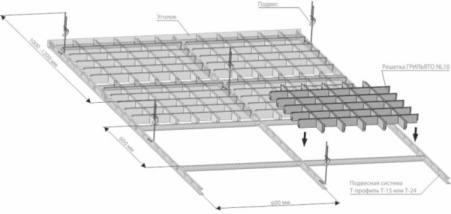 Схема монтажа потолка Грильято NL 10
