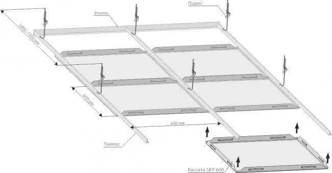 Схема монтажа кассетного потолка SKY 600