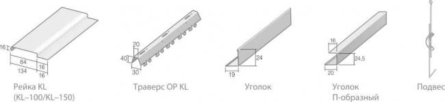 Комплектующие реечного потолка закрытого типа KL