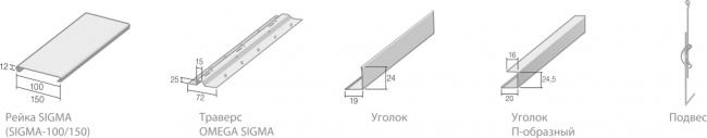 Комплектующие реечного потолка SIGMA