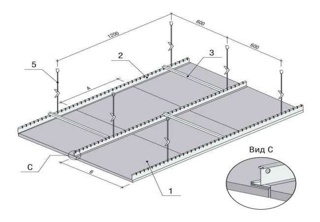 Схема монтажа кассетного потолка Албес с кромкой «VECTOR»