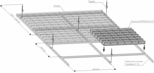 Схема сборки потолка Грильято GL15