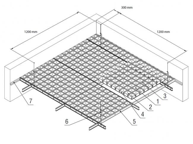 Схема сборки потолка Грильято GL24