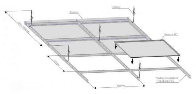 Схема монтажа кассетного потолка SKY Т15