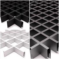 Потолки грильято: белый, черный, серебристый